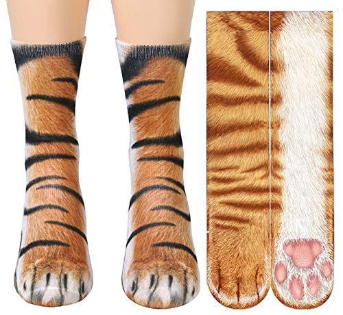 3D Socks Unisex Adult Big Kids Animal Paw Crew Socks - Sublimated Print (Orange Cat+Tiger)