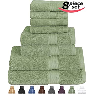 8 Piece Towel Set (Sage Green) 2 Bath Towels, 2 Hand Towels & 4 Washcloths - 100% Cotton By Utopia Towels