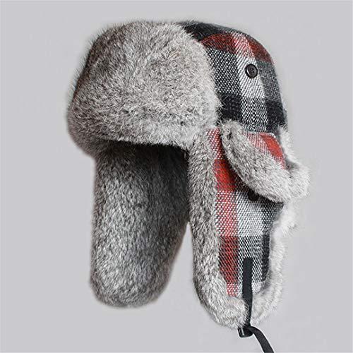 (LKIUYN Winter Men Hats Real Fur Hat Plaid Thicken Wool Earflap Russian Women Warm Snow Ski Caps Color L)