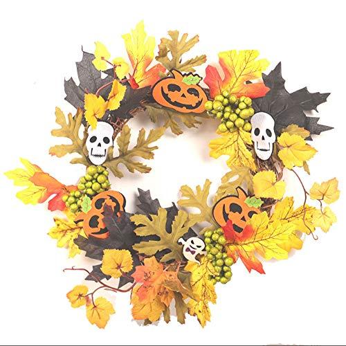 JPJ(TM) New ❤Christmas Halloween Wreath ❤1Pcs Hot Creative 35cm Rattan Berry Maple Leaf Fall Door Wreath Door Wall Ornament (B) by JPJ(TM) _Christmas products