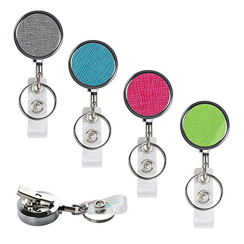 Teskyer Professional Retractable ID Card Badge Holder Reel with 360 Degrees Swivel Alligator Clip and Key Ring for Nurses Teachers Students, Retractable 30