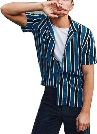 Camisa de Rayas Verticales para Hombre Camisa de Manga Larga con Cuello Suelto para jóvenes: Amazon.es: Ropa y accesorios