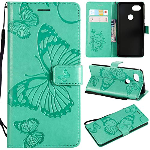 Price comparison product image NOMO Google Pixel 2 XL Case, Pixel 2 XL Wallet Case, Pixel 2 XL Case with Card Holders, Folio Flip PU Leather Butterfly Case Cover with Credit Card Slot Kickstand Phone Case for Google Pixel 2 XL, Green