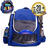 Athletico Power Shot Disc Golf Backpack | 20+ Disc Capacity | Pro or Beginner Disc Golf Bag | Unisex Design (Blue)
