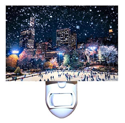 Christmas in New York Skating in Central Park Night Light -