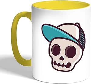 كوب سيراميك للقهوة، لون اصفر، بطبعة جمجمة بكاب
