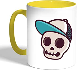 Printed Coffee Mug, Yellow Color, Skull with a cap