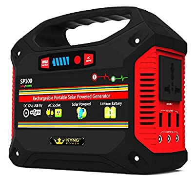 Kyng Power Solar Generator Portable Power Station UPS Battery 155Wh Emergency Generator CPAP, Rechargeable Inverter with AC Outlet, 110V/100W, 3 USB Outlet, 3 DC 12v, LED Light, FREE Solar Panel Cable