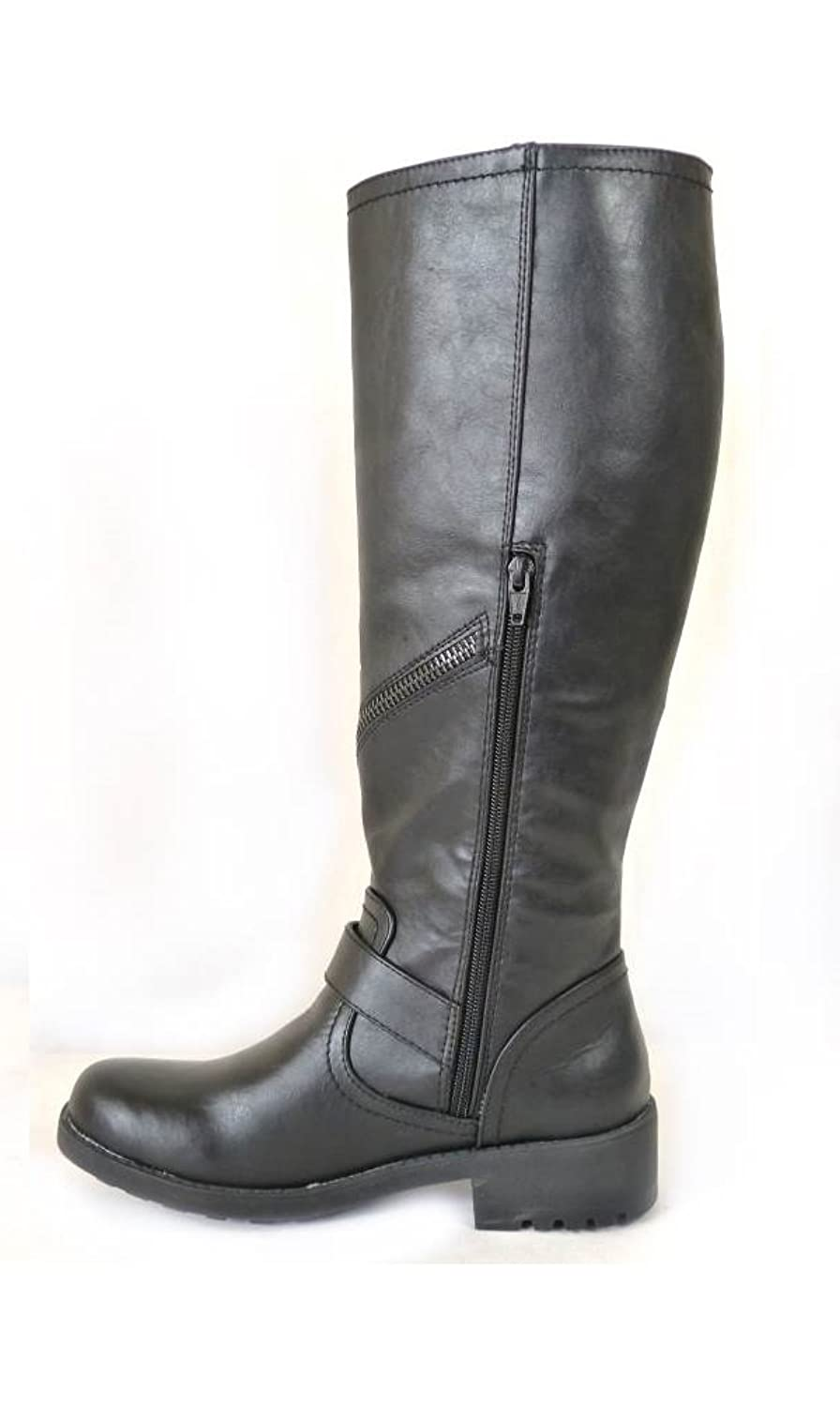 ladies womens black biker zip buckle knee length low block heel boots:  Amazon.co.uk: Shoes & Bags