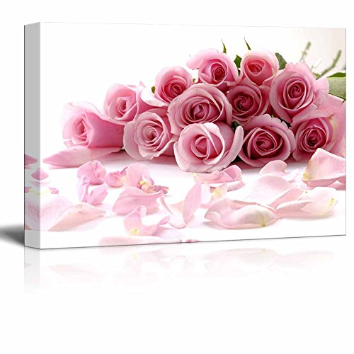 Canvas Prints Wall Art - Bouquet of Beautiful Pink Rose Flowers with Petals | Modern Wall Decor/Home Decor Stretched Gallery Wraps Giclee Print & Wood Framed. Ready to Hang - 32