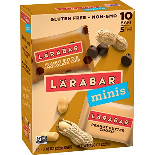 Larabar Minis Gluten Free Bars, Peanut Butter Chocolate Chip/Peanut Butter Cookie, 10-0.78 oz. Bars (4 Boxes), Vegan, Dairy Free, Gluten Free Snacks
