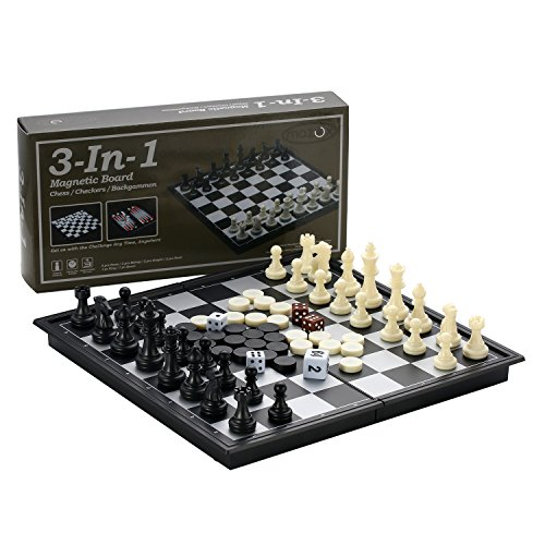 MAZEX 3-in-1 Folding Travel Magnetic Chess & Checkers & Backgammon Chess Set for Kids or Adults Chess Board Game 9.8X9.8X0.8inch (Black&White Chess Pieces)