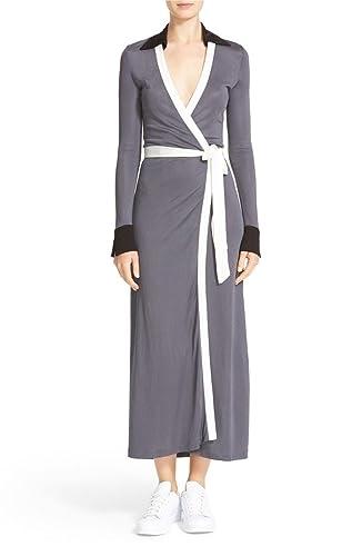 Diane von Furstenberg CYBIL TWO Midi Length Wrap Dress in Black/Rock/Ivory