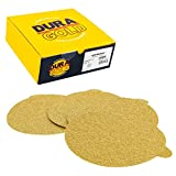 Dura-Gold Premium - 40 Grit 6'' Gold PSA Self Adhesive Stickyback Sanding Discs for DA Sanders - Box of 25 Sandpaper Finishing Discs for Automotive and Woodworking