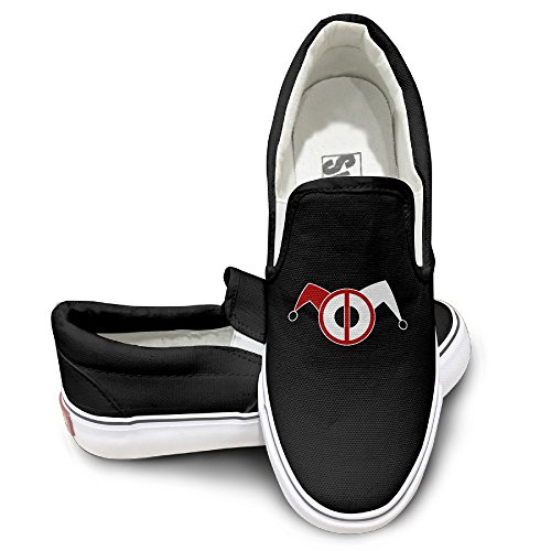 [MGTER66 Deadpool Harley Quinn Hot Dance Slip-On Casual Sneaker Unisex Style Color Black Size 39] (Baby Megamind Costume)