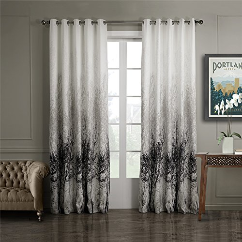 Case Treatment (Dreaming Casa White Window Treatment/Drape/Curtains Black Tree Printed Pattern Grommet Top 96 Inches Long for Bedroom Living Room 1 Panel 42