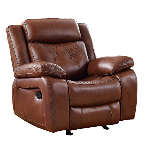 Coja by Sofa4life Covina Leather Power Glider Recliner, Brown ()