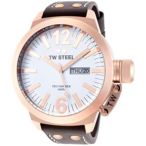 TW Steel Men's CE1018 CEO Canteen Brown Leather White Dial Watch