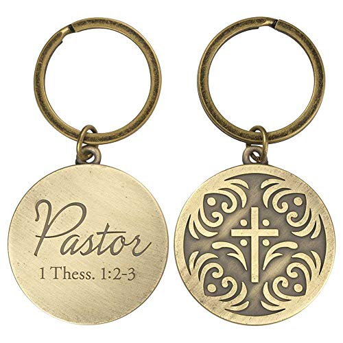 Pastor Script Circle with Cross in Burnished Gold Tone Metal Key Chain