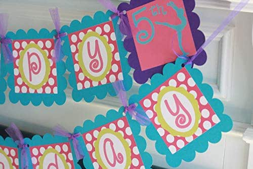 Happy Birthday Gymnast Gymnastics Sports Turquoise Hot Pink Lime Purple Polka Dot Stripe Banner - Matching Items Available - Favor Tags, Cupcake Toppers etc.