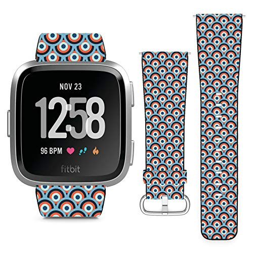 Compatible with Fitbit Versa // Leather Replacement Bracelet Strap Wristband with Quick Release Pins // Retro 60S Geometric
