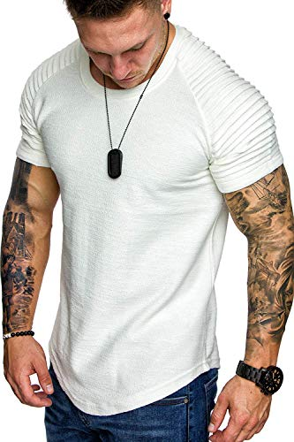 COOFANDY Mens Pleats Short Sleeve Stylish Muscle Bodybuilding Gym Tees T-Shirt White ()