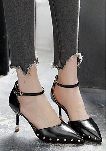 con 38 Moda Una palabra hebilla la correspondencia la Zapatos 8cm señoras multa Sexy Solo altos Toda la tacones Transpirable Negros Ajunr Sandalias 34 elegante princesa gdvCnxwwqF