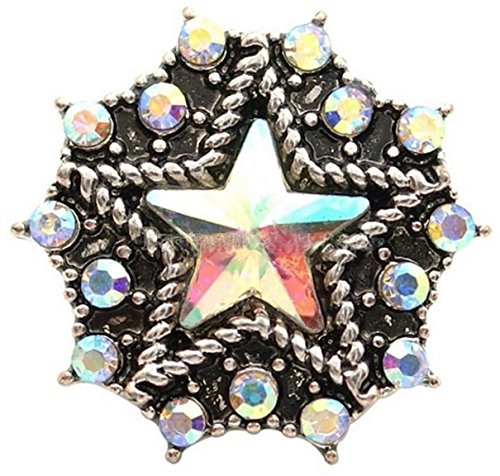 hinestone Star 20mm Snap Charm Interchangeable Jewelry Fits Ginger Snaps ()