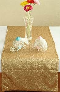 Camino de mesa de lentejuelas de boda SoarDream, lentejuelas mesa de 36cm x 240cm, mate oro