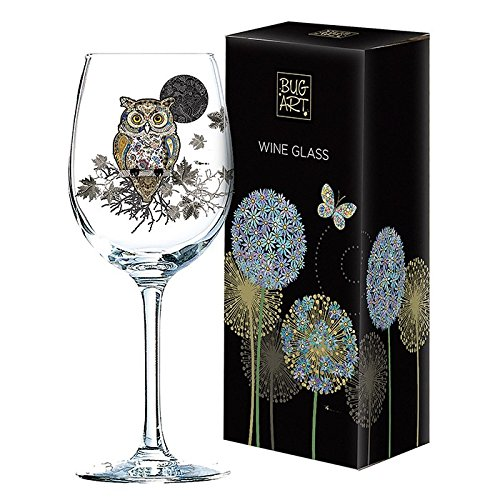 Gorgeous Owl Design Wine Glass Gift New Boxed Joe Davies