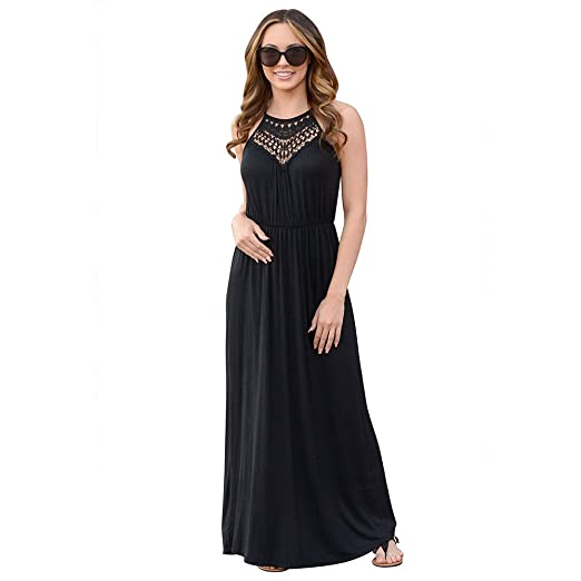 143690877660 OMyAngel Women s Casual Floral Lace Maxi Dress Sleeveless Halter Long Dress