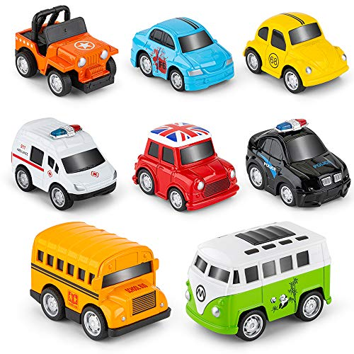 Metal Pull Back Cars, 8 Pack Mini Die Cast Toy Cars Set, Police Car/Trucks/School Bus/Ambulance Car/Taxi/Bus....Kids Toys Vehicles Friction Powered,for Aged 3-12 Year Boys Girls Kids