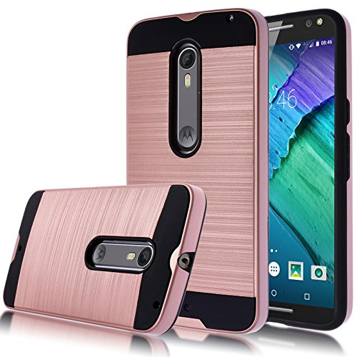 Moto X Pure Edition Case,Kmall [Metal Brushed Texture] Slim Impact Resistant Heavy Duty Hybrid Dual Layer Full-Body Shockproof Protective Cover Shell For Moto X Pure Edition / Moto X Style [Rose Gold]