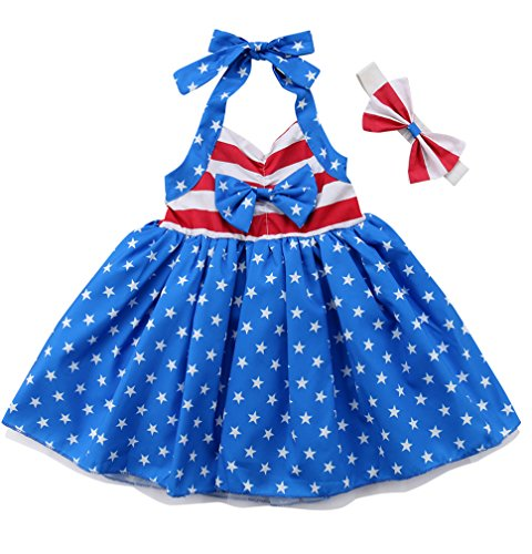 4th of July Little Girls Amercian Flag Sleeveless Tutu Dress Party Wedding Princess Dresses with Headband (5-6T, US Flag)