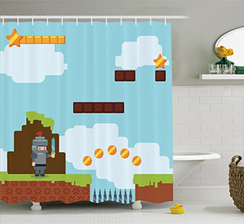 Video Games Shower Curtain Set by Ambesonne, Retro Arcade World Kids 90's Fun Theme Knight with Sword Fireball Bonus Stars Coins, Fabric Bathroom Decor with Hooks, 70 Inches, (Coin Sword)