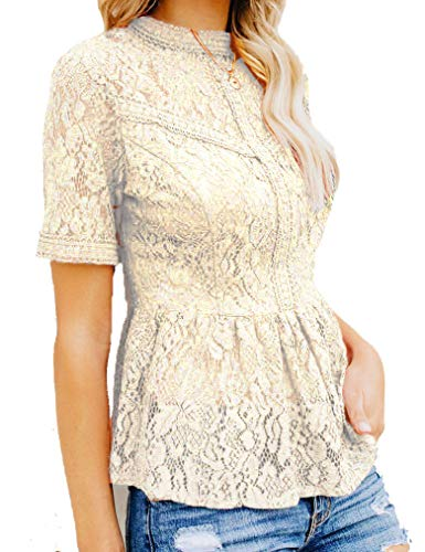 Tobrief Women's Short Sleeve Sexy Sheer Mesh Lace Blouse Peplum Top (XXL, 06 Champagne) ()
