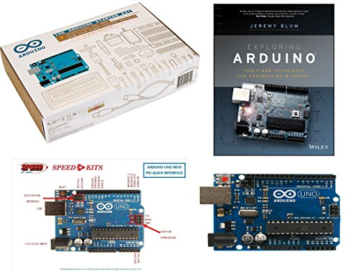 Exploring Arduino Starter Kit Bundle: The Official Arduino.cc Starter Kit Uno R3, Exploring Arduino: Tools and Techniques for Engineering Wizardry By Jeremy Blum and SPEED-KITS PIN-OUT Chart by Arduino