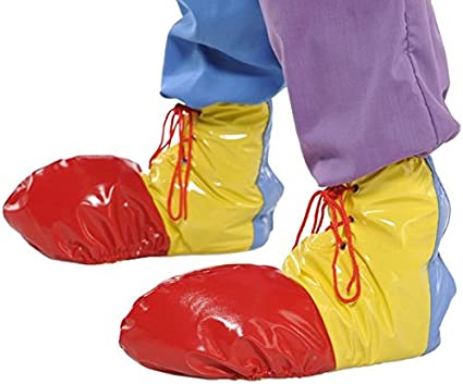 CHILD CLOWN COSTUME SHOES SHOE COVERS RED /& YELLOW BOYS ONE SIZE FORUM NOVELTIES
