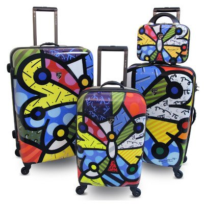 4 Piece Spinner Luggage Set Pattern: Butterfly by Britto Collection by Heys USA