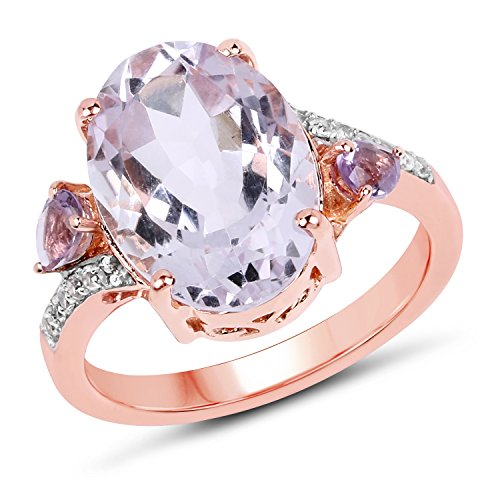Huang and Co. 14K Rose Gold Plated 4.70 Carat Genuine Pink Amethyst, Amethyst and White Topaz .925 Sterling Silver Ring