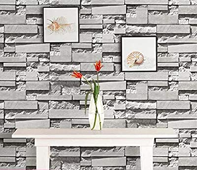 Yancorp Waterproof Self-Adhesive White Grey Brick Pattern Peel-Stick Wallpaper Brick Contact Paper Backsplash Sticker Shelf Liner Removable Door Vinyl Flooring 10ft Gray Wall Stickers