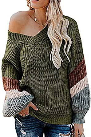 FAFOFA Women V Neck Oversized Batwing Long Sleeve Knit Pullover Loose Chunky Sweater Army Green S