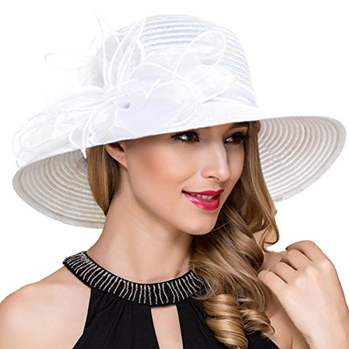 Women Kentucky Derby Church Dress Cloche Hat Fascinator Floral Tea Party Wedding Bucket Hat S052 (White) -
