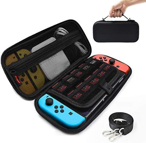 Nintendo Switch ケース ニンテンドー スイッチ ケース 3DSカードも収納 ショルダーベルト付き 保護機能 大容量 耐衝撃 防塵 防水 キャリングケース バッグ 外出 旅行 YOSH ブラック