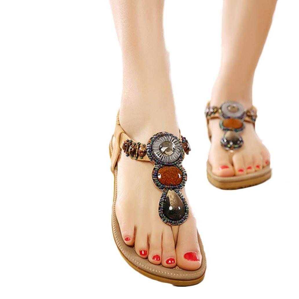Women Summer Sandals, HEHEM Women Fashion Sweet Beaded Clip Toe Flats Bohemian Herringbone Sandals (42, Red)