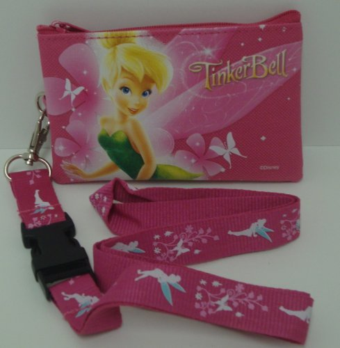 (Disney Tinkerbell Pink Lanyard with Detachable Coin Purse)