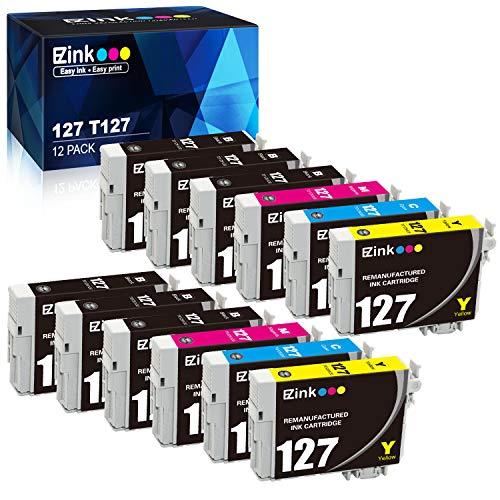 E-Z Ink (TM) Remanufactured Ink Cartridge Replacement for Epson 127 T127 to use with NX530 NX625 WF-3520 WF-3530 WF-3540 WF-7010 WF-7510 WF-7520 545 645 (6 Black, 2 Cyan, 2 Magenta, 2 Yellow) 12Pack (Epson 3540 Printer Ink)