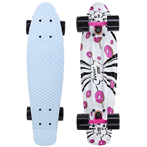 Cal 7 Complete Mini Cruiser Skateboard, 22 Inch Plastic in Retro Design (Donut)