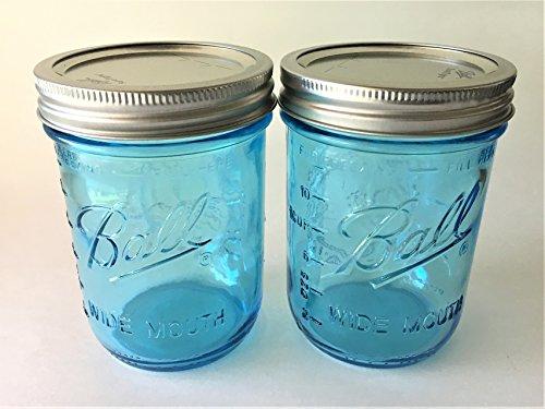 . Aqua Blue Glass Wide Mouth - Set of 2 (Aqua Glass Ball)