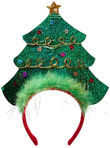 Amscan Fun-Filled Christmas and Holiday Party Tree Headband, Green, 10 1/4